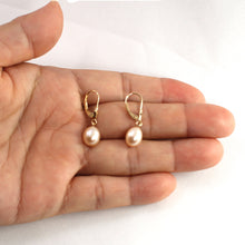Load image into Gallery viewer, 14k Yellow Gold Leverback; Genuine AAA Peach Cultured Pearl Dangle Earrings