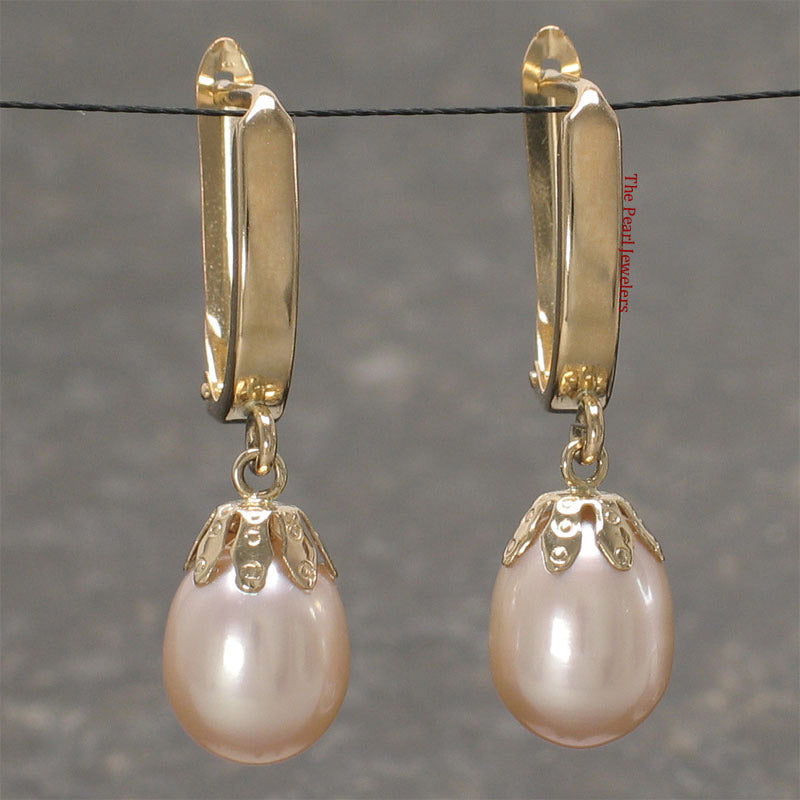 14k Yellow Gold Euro Back & Cup AAA 8mm Pink Cultured Pearls Dangle Earrings