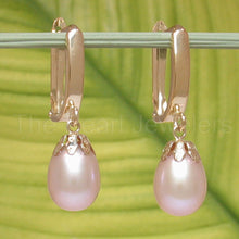 Load image into Gallery viewer, 14k Yellow Gold Euro Back & Cup AAA 8mm Pink Cultured Pearls Dangle Earrings