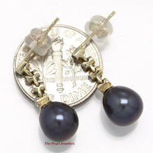 Load image into Gallery viewer, 14k Yellow Solid Gold & Diamonds; Black Cultured Pearl Dangle Stud Earrings