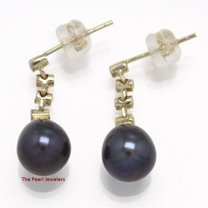 14k Yellow Solid Gold & Diamonds; Black Cultured Pearl Dangle Stud Earrings