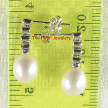 Load image into Gallery viewer, 14k White Gold Sparkling Diamonds & Genuine White Pearl Dangle Stud Earrings