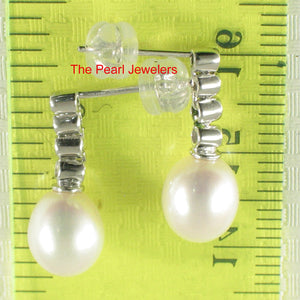 14k White Gold Sparkling Diamonds & Genuine White Pearl Dangle Stud Earrings