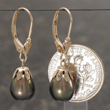 Load image into Gallery viewer, 14k Yellow Solid Gold Lever Back & Cup Black Cultured Pearl Dangle Earrings