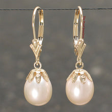 Load image into Gallery viewer, 14k Yellow Gold Leverback & Cup Genuine Peach Cultured Pearl Dangle Earrings