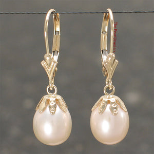 14k Yellow Gold Leverback & Cup Genuine Peach Cultured Pearl Dangle Earrings