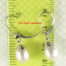 Load image into Gallery viewer, 14k White Solid Gold Leverback & Cup; White Cultured Pearl Dangle Earrings