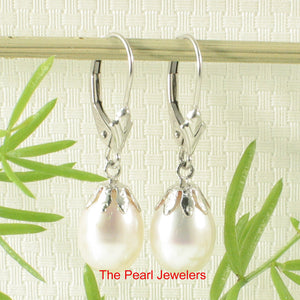 14k White Solid Gold Leverback & Cup; White Cultured Pearl Dangle Earrings