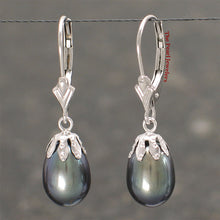 Load image into Gallery viewer, 14k White Gold Leverback & Cup; Raindrop Black Cultured Pearl Dangle Earrings