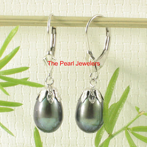 14k White Gold Leverback & Cup; Raindrop Black Cultured Pearl Dangle Earrings