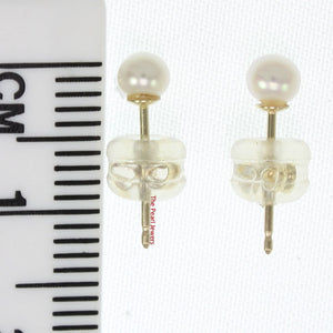 AAA 3.5mm High Luster White Cultured Pearl Stud Earrings Set 14k Yellow Gold