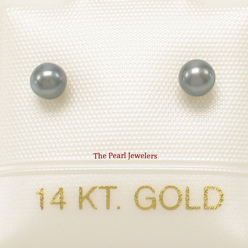 AAA 3-4mm High Luster Black Cultured Pearl Stud Earrings Sets14k Yellow Gold