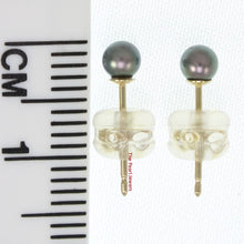 Load image into Gallery viewer, AAA 3-4mm High Luster Black Cultured Pearl Stud Earrings Sets14k Yellow Gold