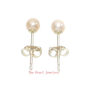 AAA 3.5mm High Luster Peach Cultured Pearl Stud Earrings Set 14k Yellow Gold