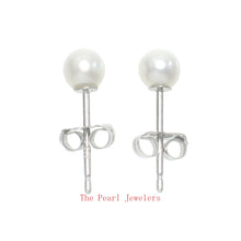 Load image into Gallery viewer, 14k White Gold AAA 3.5mm High Luster White Cultured Pearl Stud Earrings