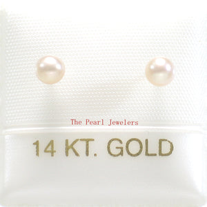 14k White Solid Gold AAA 3.5mm High Luster Pink Cultured Pearl Stud Earrings