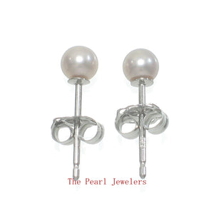 14k White Gold AAA 3.5mm High Luster Lavender Cultured Pearl Stud Earrings