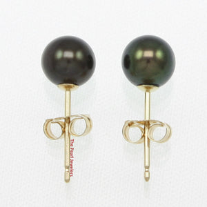 14k Yellow Gold AAA 5.5-6mm High Luster Black Cultured Pearl Stud Earrings