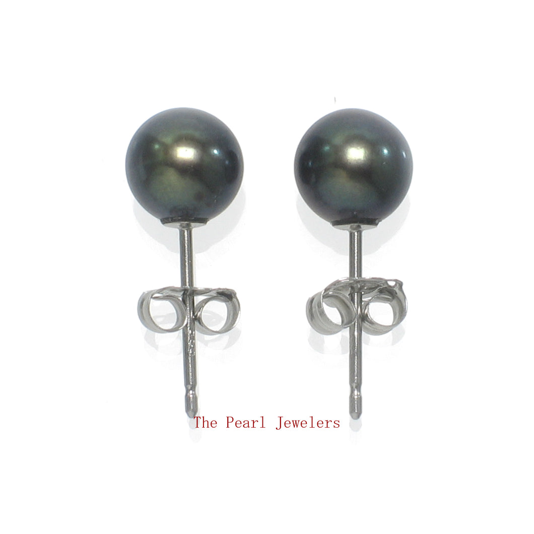 14k White Gold AAA 5.5-6mm High Luster Black Cultured Pearl Stud Earrings
