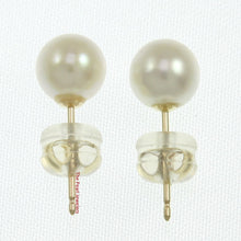Load image into Gallery viewer, 14k Yellow Gold AAA 6-6.5mm High Luster White Cultured Pearl Stud Earrings