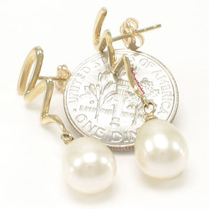 14k Solid Yellow Gold Lightning Design White Cultured Pearl Dangle Earrings