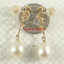 Load image into Gallery viewer, 14k Solid Yellow Gold Lightning Design White Cultured Pearl Dangle Earrings