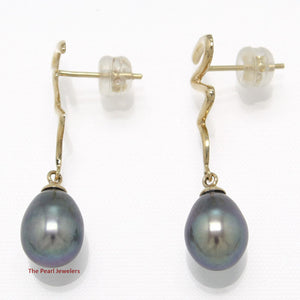14k Yellow Solid Gold Lightning Design Black Cultured Pearl Dangle Stud Earrings