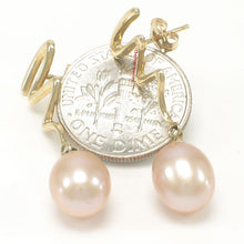 Load image into Gallery viewer, 14k Yellow Gold Lightning Design Teardrop Pink Pearl Dangle Stud Earrings