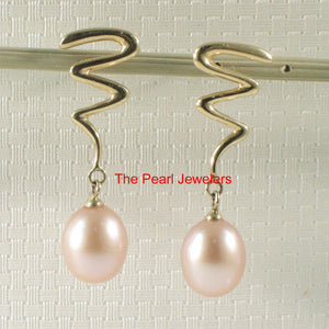 14k Yellow Gold Lightning Design Teardrop Pink Pearl Dangle Stud Earrings