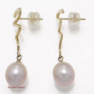14k Yellow Solid Gold Unique Design Raindrop Lavender Pearl Dangle Earrings