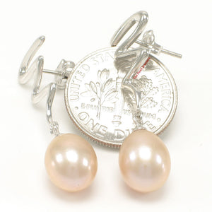 14k White Solid Gold Unique Design Peach Cultured Pearl Dangle Stud Earrings