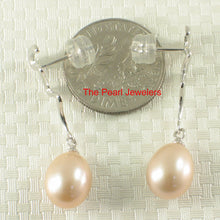 Load image into Gallery viewer, 14k White Solid Gold Unique Design Peach Cultured Pearl Dangle Stud Earrings