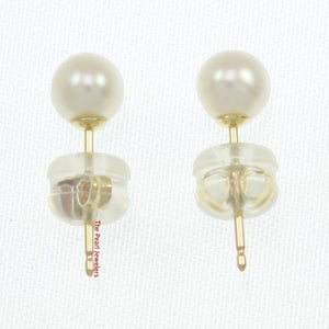 14k Yellow Gold AAA 4-5mm High Luster White Cultured Pearl Stud Earrings