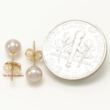 Load image into Gallery viewer, 14k Yellow Gold AAA 4.5-5mm High Luster Lavender Cultured Pearl Stud Earrings