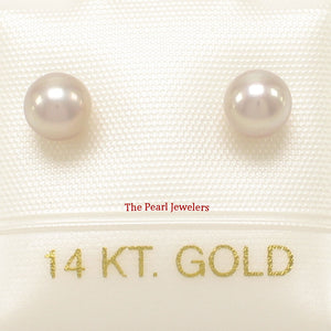 14k Yellow Gold AAA 4.5-5mm High Luster Lavender Cultured Pearl Stud Earrings