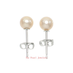 14k White Gold AAA 4.5-5mm High Luster Peach Cultured Pearl Stud Earrings