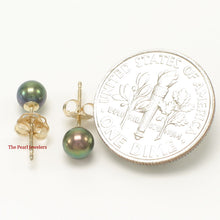 Load image into Gallery viewer, 14k Yellow Gold AAA 4.5-5mm High Luster Black Cultured Pearl Stud Earrings