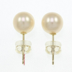 14k Yellow Gold AAA 7-7.5mm High Luster Peach Cultured Pearl Stud Earrings
