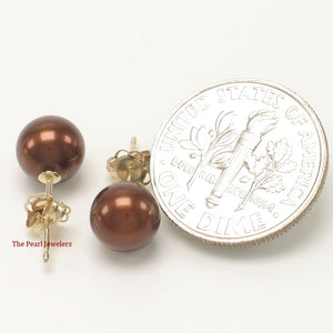 14k Solid Gold AAA 7-7.5mm High Luster Chocolate Cultured Pearl Stud Earrings