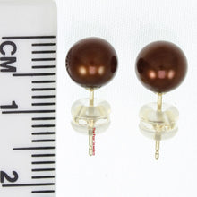 Load image into Gallery viewer, 14k Solid Gold AAA 7-7.5mm High Luster Chocolate Cultured Pearl Stud Earrings