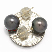 Load image into Gallery viewer, 14k Yellow Gold AAA 7.5-8mm High Luster Black Cultured Pearl Stud Earrings