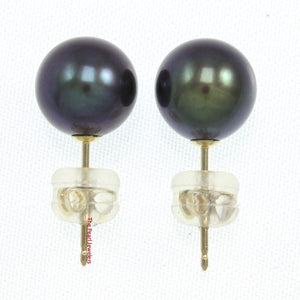14k Yellow Gold AAA 7.5-8mm High Luster Black Cultured Pearl Stud Earrings