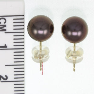 14k Yellow Gold AAA 7.5-8mm High Luster Eggplant Cultured Pearl Stud Earrings