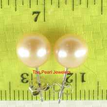 Load image into Gallery viewer, 14k White Gold AAA 7.5-8mm High Luster Peach Cultured Pearl Stud Earrings