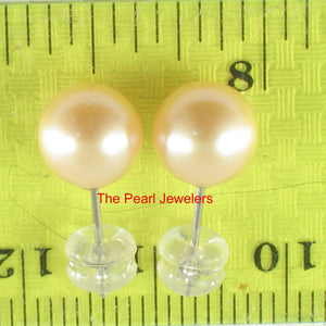 14k White Gold AAA 7.5-8mm High Luster Peach Cultured Pearl Stud Earrings
