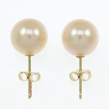 Load image into Gallery viewer, 14k Yellow Gold AAA 8.5-9mm High Luster Pink Cultured Pearl Stud Earrings