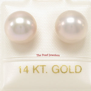 14k Yellow Gold AAA 8.5-9mm High Luster Pink Cultured Pearl Stud Earrings
