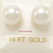 Load image into Gallery viewer, 14k Yellow Gold AAA 9-9.5mm High Luster White Cultured Pearl Stud Earrings