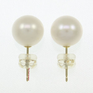 14k Yellow Gold AAA 9-9.5mm High Luster White Cultured Pearl Stud Earrings