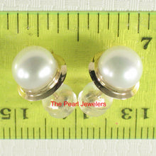 Load image into Gallery viewer, 1000370-14k-Gold-Genuine-White-Cultured-Pearl-Stud-Earrings